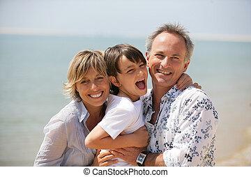 pláž, rodina, šťastný