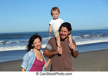 pláž, rodina