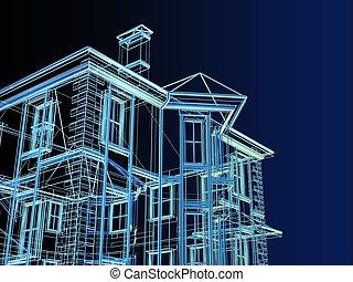 plán, o, čerstvý, dwelling-house