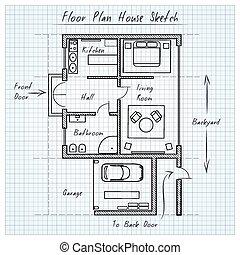 plán prostorového uspořádání, ubytovat se, skica