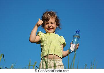 plástico, água, dedo, garrafa, menina, capim, gesto, mostra