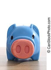 plástico, banco piggy azul