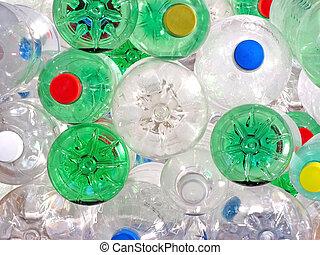 plástico, bebida, garrafas