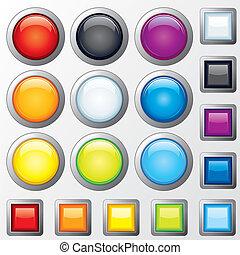 plástico, botões