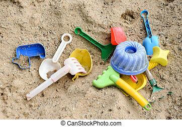 plástico, brinquedos, para, praia