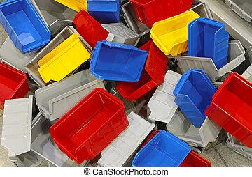 plástico, caixas, e, banheiras