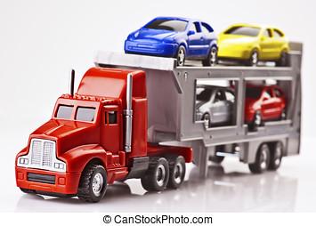 plástico, coches, carro del juguete, transportado