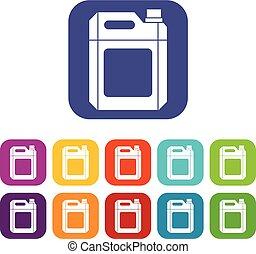 plástico, conjunto, jerry, lata, iconos