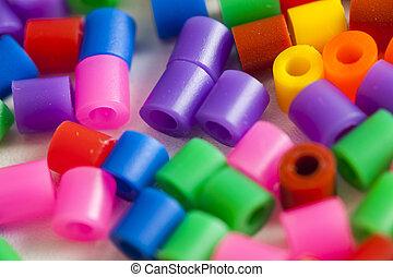 plástico, contas, cores