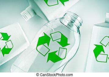 plástico, contenedores, con, reciclar el símbolo