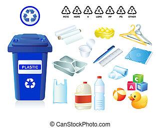 plástico, desperdício, e, lixo