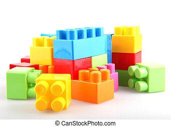 plástico, edifício bloqueia
