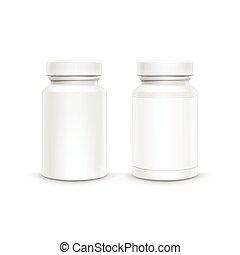 plástico, empaquetado, vector, botella, blanco, píldoras