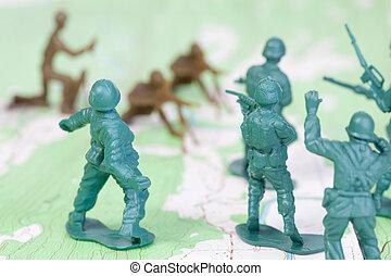 plástico, exército, homens lutando, batalha, mapa...