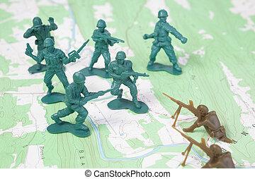 plástico, exército, homens lutando, ligado, mapa topographic