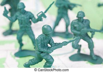plástico, exército, homens lutando, ligado, mapa topographic, esquadra, ataques