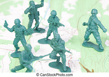 plástico, exército, homens lutando, ligado, topográfico, map.