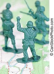 plástico, exército, homens lutando, mapa topographic, líder, aconselhar, equipe