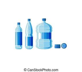 plástico, garrafa água, jogo, isolado