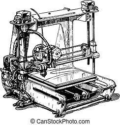plástico, impresora, 3d