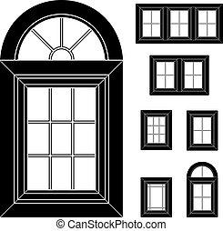 plástico, janela, vetorial, pretas, ícones