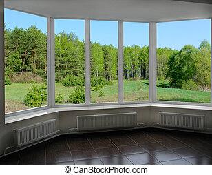 plástico, janelas, com, vista, de, floresta