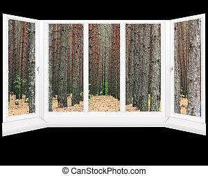plástico, janelas, com, vista, de, floresta pinho