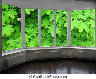 plástico, janelas, de, varanda, negligenciar, a, verde, maple
