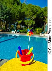 plástico, juguetes, cerca, piscina