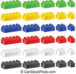 plástico, niños, constructor
