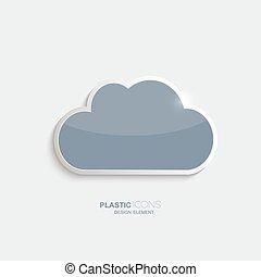 plástico, nuvem, ícone