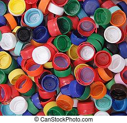 plástico, plano de fondo, tapas