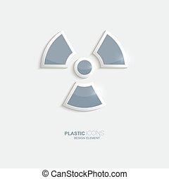 plástico, radiação, símbolo., ícone
