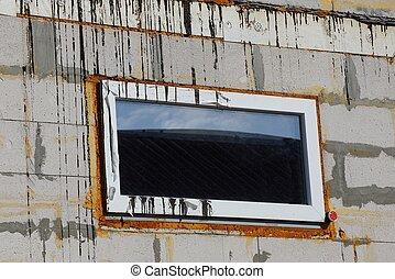 plástico, retangular, branca, janela, um, sujo, parede tijolo