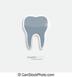 plástico, símbolo, diente, icono