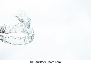 plástico, tablilla, dental, alineación, transparente