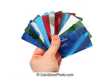 plástico, tarjetas