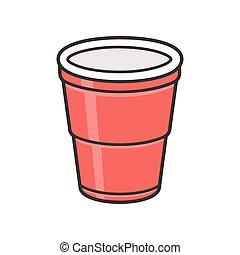 plástico, taza roja
