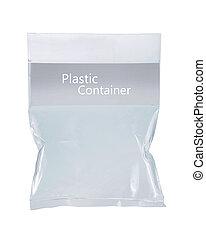 plástico, transparente, pacote