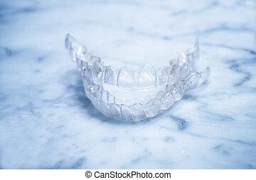 plástico, transparente, tablilla, dental, alineación