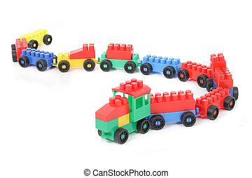 plástico, trem, isolado, ligado, a, branca, backround