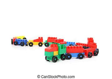 plástico, tren, aislado, en, el, blanco, backround