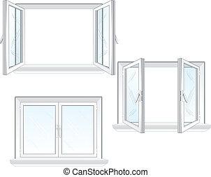 plástico, ventana