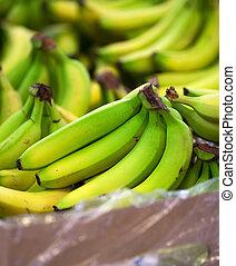 plátanos, en la exhibición, en, un, supermercado