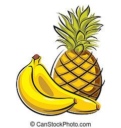 plátanos, piña