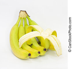 plátanos, plano de fondo, blanco