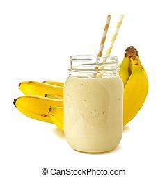 plátanos, Zalamero, encima, tarro, pajas, Plano de fondo,...