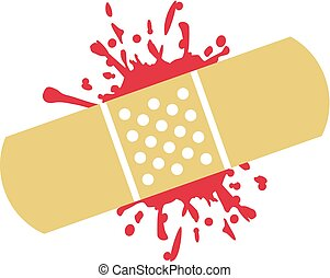 plâtre, blessure, sanglant