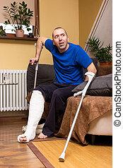 plâtre, difficultés, jambe