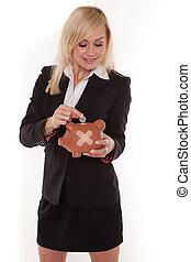 plâtre, femme, banque, porcin, tenue